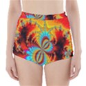 Crazy Mandelbrot Fractal Red Yellow Turquoise High-Waisted Bikini Bottoms View1