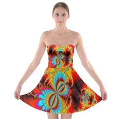 Crazy Mandelbrot Fractal Red Yellow Turquoise Strapless Bra Top Dress
