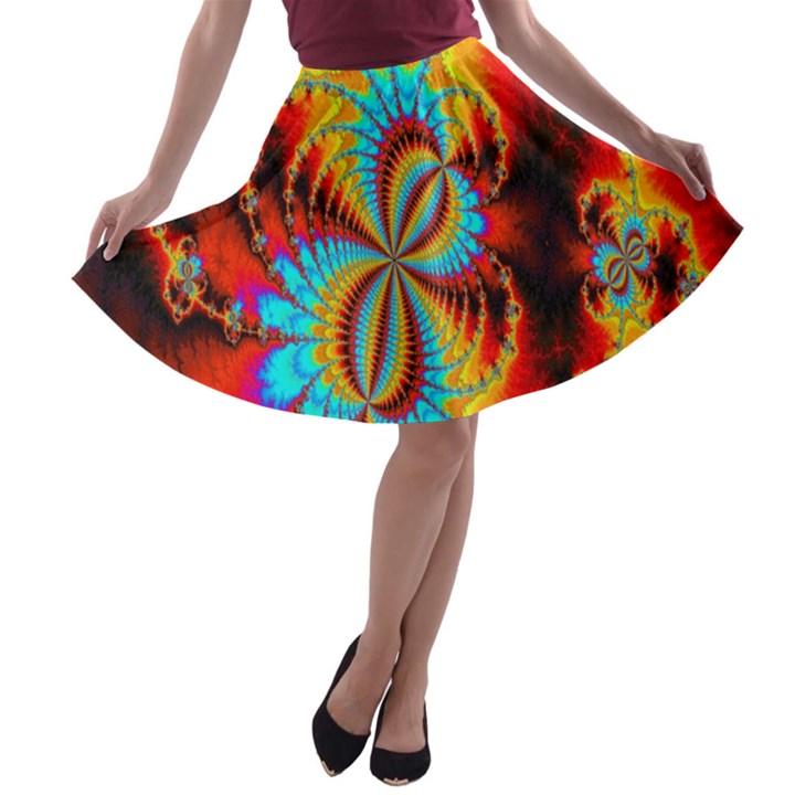 Crazy Mandelbrot Fractal Red Yellow Turquoise A-line Skater Skirt