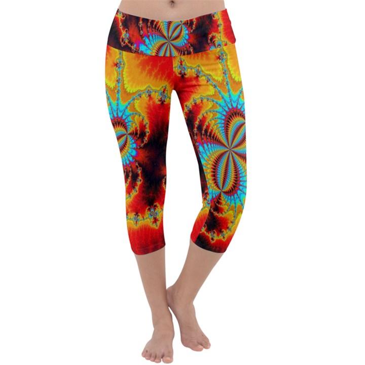 Crazy Mandelbrot Fractal Red Yellow Turquoise Capri Yoga Leggings