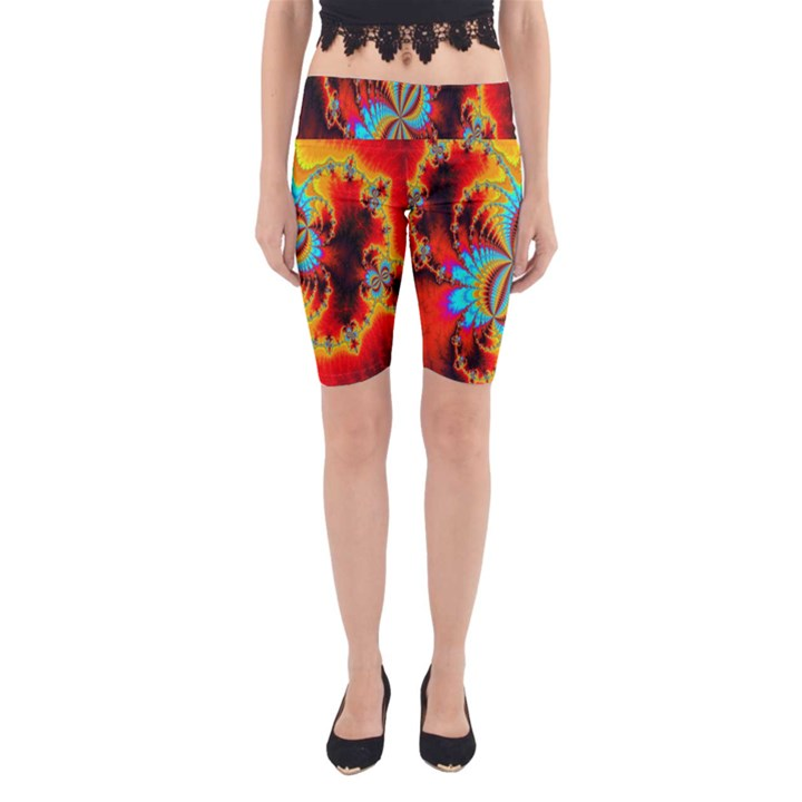 Crazy Mandelbrot Fractal Red Yellow Turquoise Yoga Cropped Leggings