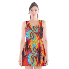 Crazy Mandelbrot Fractal Red Yellow Turquoise Scoop Neck Skater Dress