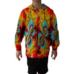 Crazy Mandelbrot Fractal Red Yellow Turquoise Hooded Wind Breaker (kids)