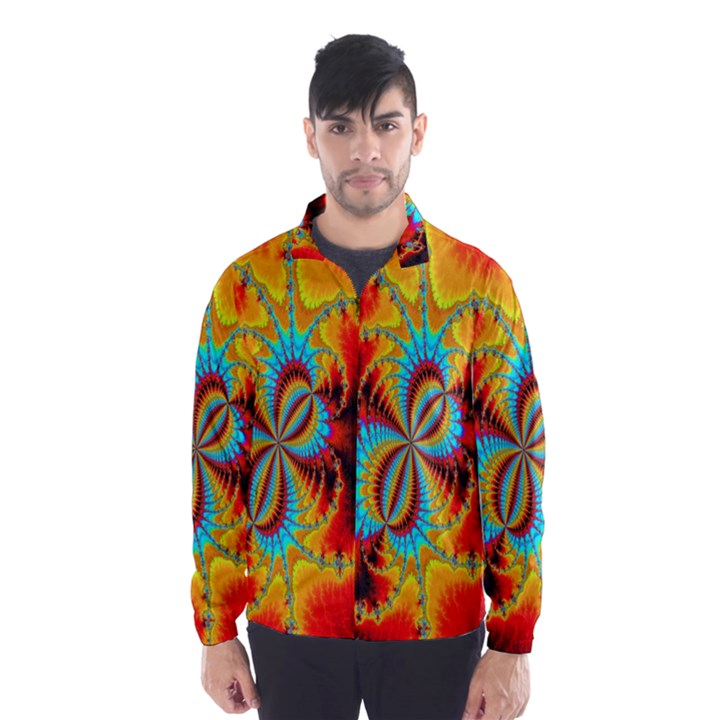 Crazy Mandelbrot Fractal Red Yellow Turquoise Wind Breaker (Men)