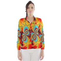 Crazy Mandelbrot Fractal Red Yellow Turquoise Wind Breaker (Women)