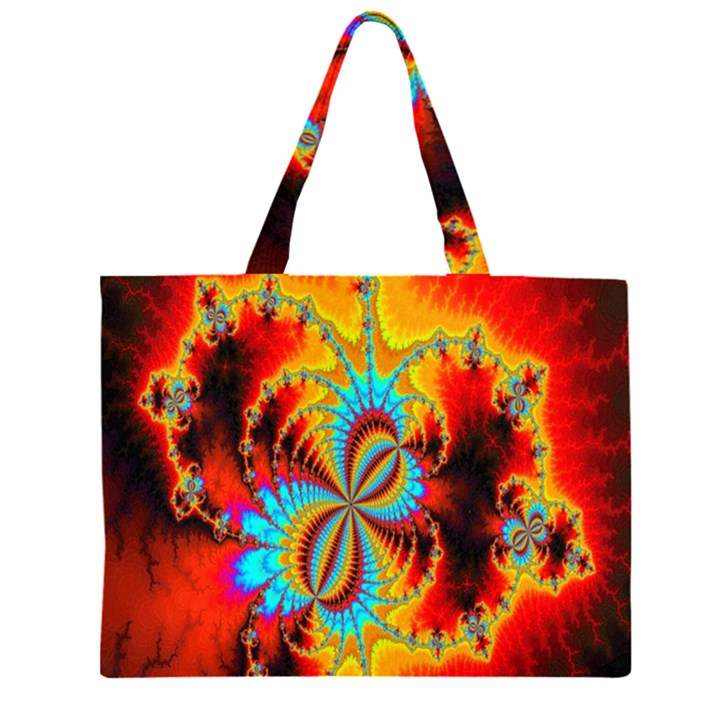 Crazy Mandelbrot Fractal Red Yellow Turquoise Large Tote Bag