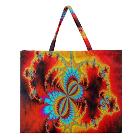 Crazy Mandelbrot Fractal Red Yellow Turquoise Zipper Large Tote Bag