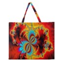 Crazy Mandelbrot Fractal Red Yellow Turquoise Zipper Large Tote Bag View1