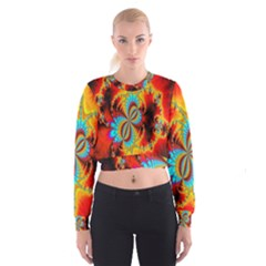 Crazy Mandelbrot Fractal Red Yellow Turquoise Women s Cropped Sweatshirt