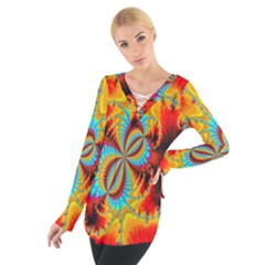 Crazy Mandelbrot Fractal Red Yellow Turquoise Women s Tie Up Tee