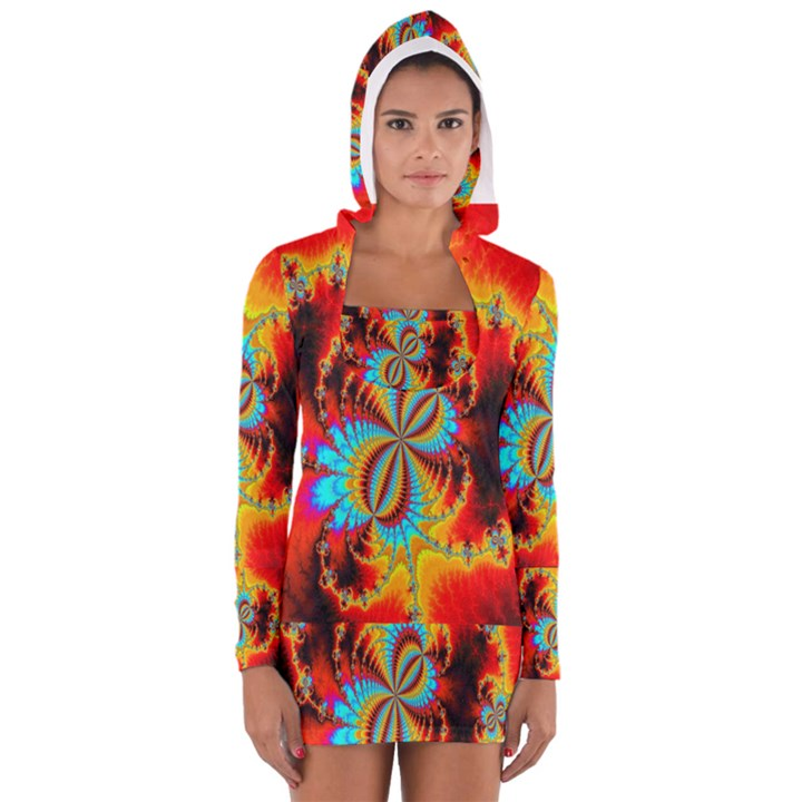 Crazy Mandelbrot Fractal Red Yellow Turquoise Women s Long Sleeve Hooded T-shirt