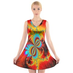 Crazy Mandelbrot Fractal Red Yellow Turquoise V Neck Sleeveless Skater Dress