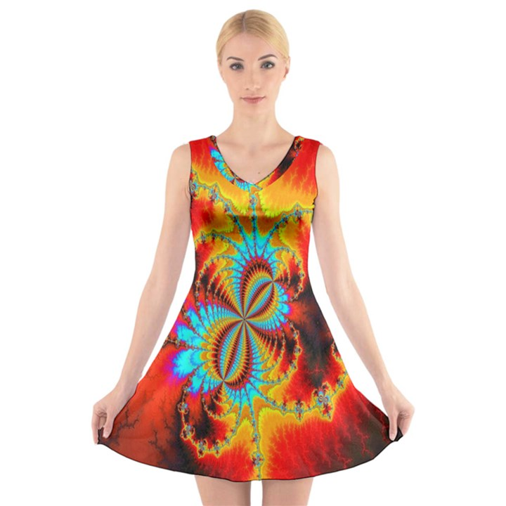 Crazy Mandelbrot Fractal Red Yellow Turquoise V-Neck Sleeveless Skater Dress