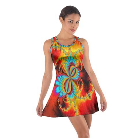 Crazy Mandelbrot Fractal Red Yellow Turquoise Cotton Racerback Dress