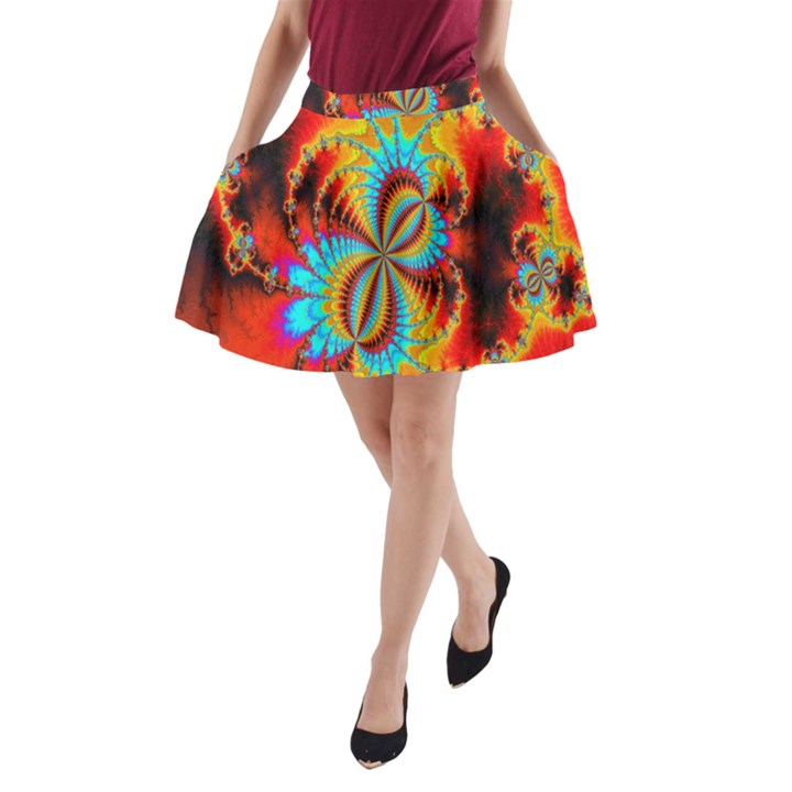 Crazy Mandelbrot Fractal Red Yellow Turquoise A-Line Pocket Skirt