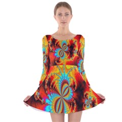 Crazy Mandelbrot Fractal Red Yellow Turquoise Long Sleeve Velvet Skater Dress