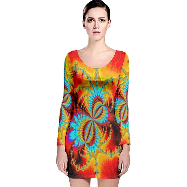 Crazy Mandelbrot Fractal Red Yellow Turquoise Long Sleeve Velvet Bodycon Dress