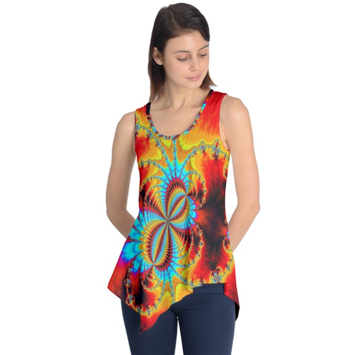 Crazy Mandelbrot Fractal Red Yellow Turquoise Sleeveless Tunic