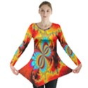 Crazy Mandelbrot Fractal Red Yellow Turquoise Long Sleeve Tunic  View1