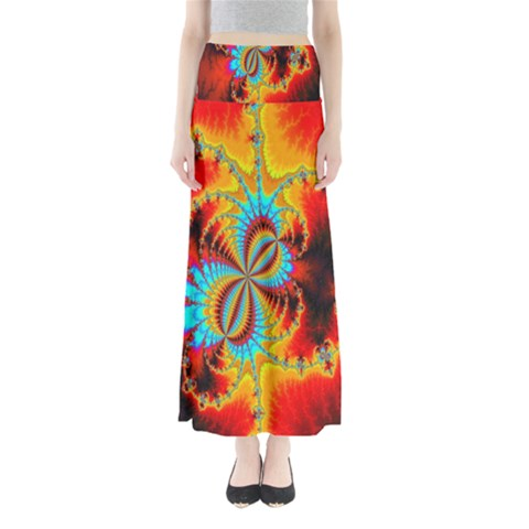 Crazy Mandelbrot Fractal Red Yellow Turquoise Maxi Skirts