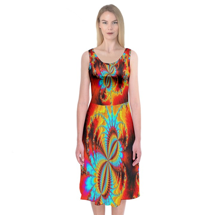 Crazy Mandelbrot Fractal Red Yellow Turquoise Midi Sleeveless Dress