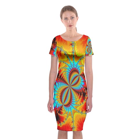 Crazy Mandelbrot Fractal Red Yellow Turquoise Classic Short Sleeve Midi Dress