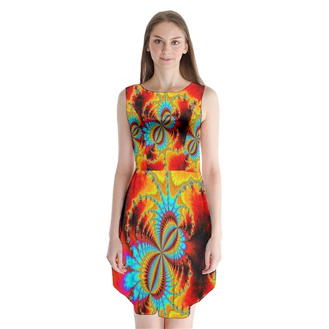 Crazy Mandelbrot Fractal Red Yellow Turquoise Sleeveless Chiffon Dress
