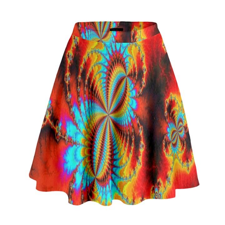 Crazy Mandelbrot Fractal Red Yellow Turquoise High Waist Skirt
