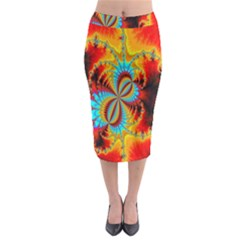 Crazy Mandelbrot Fractal Red Yellow Turquoise Midi Pencil Skirt