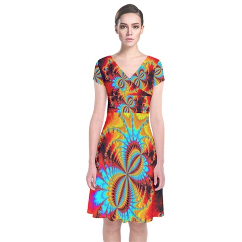 Crazy Mandelbrot Fractal Red Yellow Turquoise Short Sleeve Front Wrap Dress