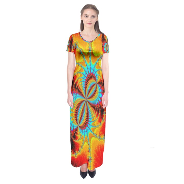 Crazy Mandelbrot Fractal Red Yellow Turquoise Short Sleeve Maxi Dress