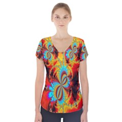 Crazy Mandelbrot Fractal Red Yellow Turquoise Short Sleeve Front Detail Top