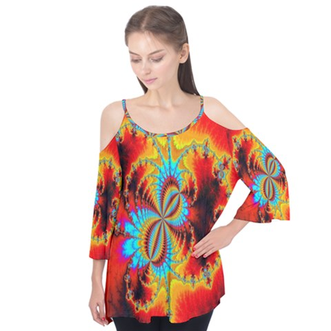 Crazy Mandelbrot Fractal Red Yellow Turquoise Flutter Tees