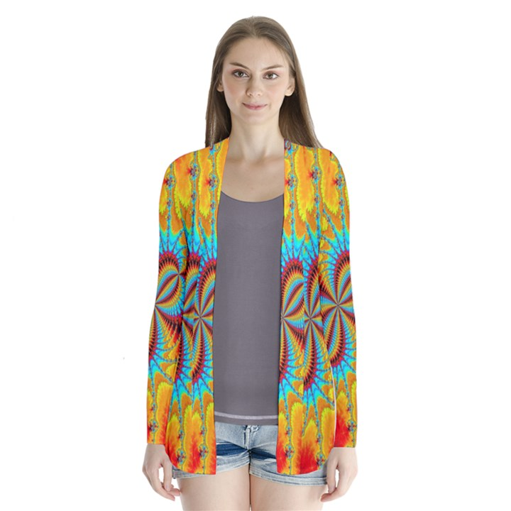 Crazy Mandelbrot Fractal Red Yellow Turquoise Drape Collar Cardigan