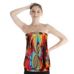 Crazy Mandelbrot Fractal Red Yellow Turquoise Strapless Top