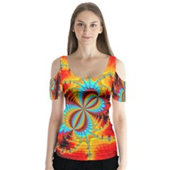 Crazy Mandelbrot Fractal Red Yellow Turquoise Butterfly Sleeve Cutout Tee