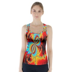 Crazy Mandelbrot Fractal Red Yellow Turquoise Racer Back Sports Top
