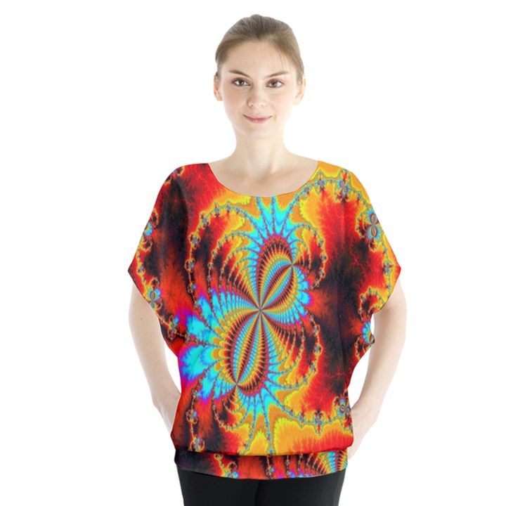 Crazy Mandelbrot Fractal Red Yellow Turquoise Blouse
