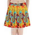 Crazy Mandelbrot Fractal Red Yellow Turquoise Pleated Mini Skirt View1