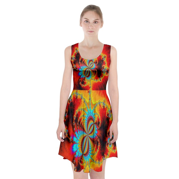 Crazy Mandelbrot Fractal Red Yellow Turquoise Racerback Midi Dress
