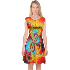 Crazy Mandelbrot Fractal Red Yellow Turquoise Capsleeve Midi Dress