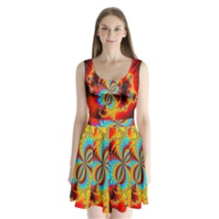 Crazy Mandelbrot Fractal Red Yellow Turquoise Split Back Mini Dress