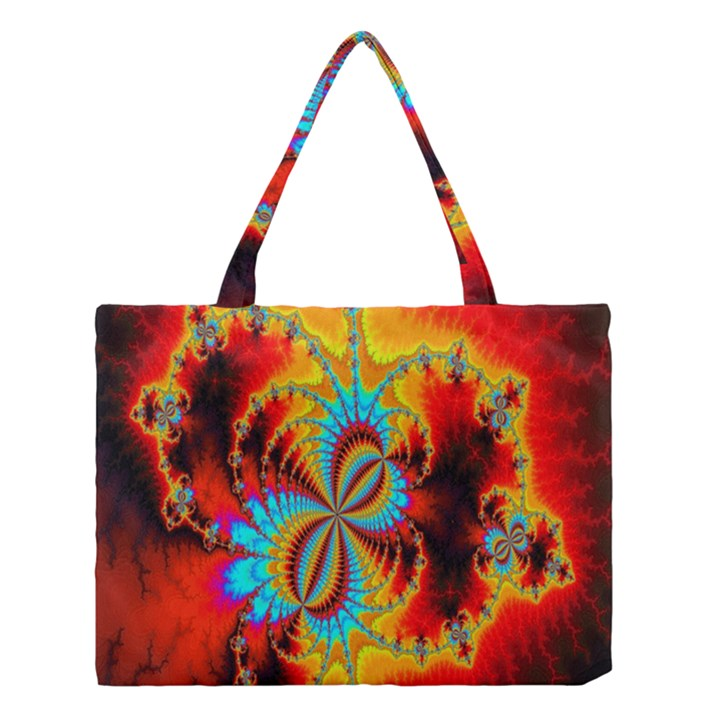 Crazy Mandelbrot Fractal Red Yellow Turquoise Medium Tote Bag
