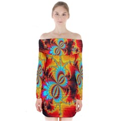 Crazy Mandelbrot Fractal Red Yellow Turquoise Long Sleeve Off Shoulder Dress