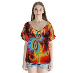 Crazy Mandelbrot Fractal Red Yellow Turquoise Flutter Sleeve Top