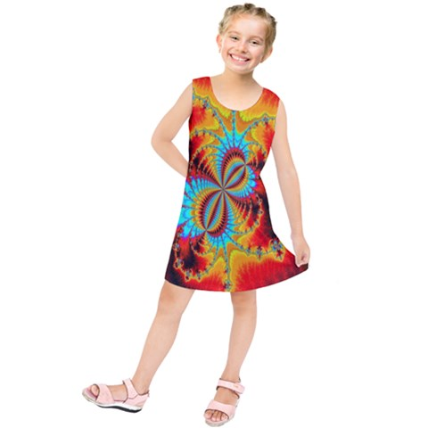 Crazy Mandelbrot Fractal Red Yellow Turquoise Kids  Tunic Dress