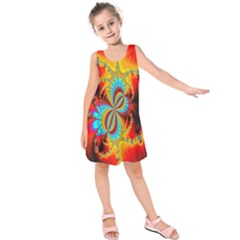 Crazy Mandelbrot Fractal Red Yellow Turquoise Kids  Sleeveless Dress