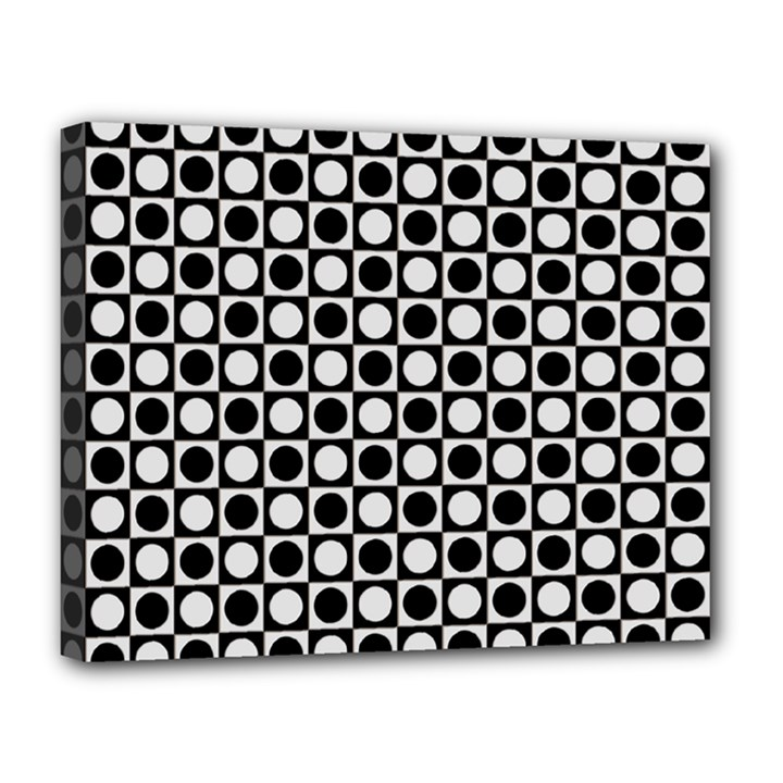 Modern Dots In Squares Mosaic Black White Canvas 14  x 11