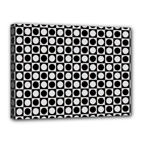 Modern Dots In Squares Mosaic Black White Canvas 16  X 12