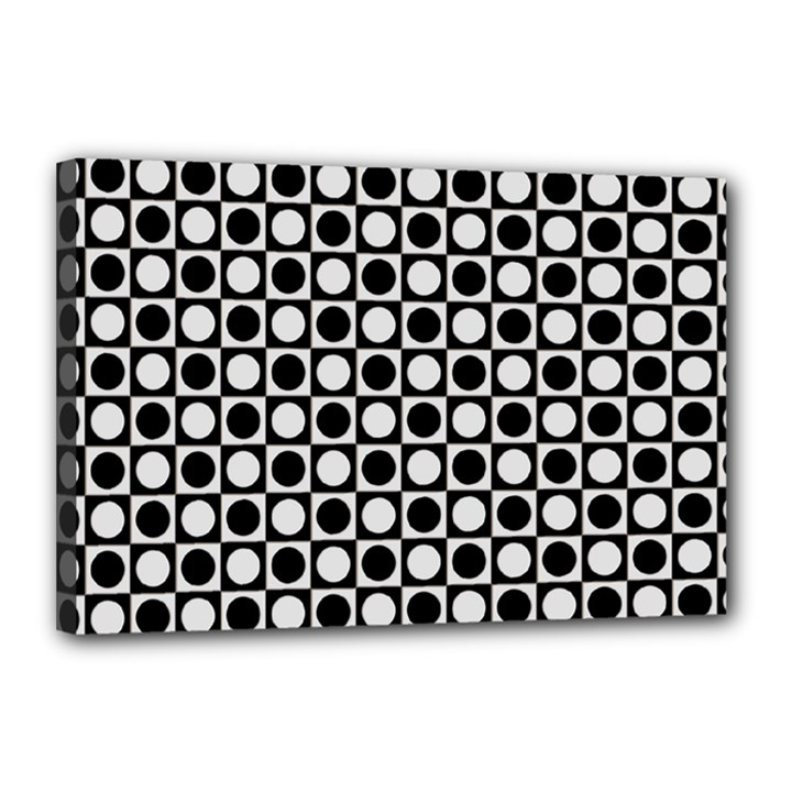 Modern Dots In Squares Mosaic Black White Canvas 18  x 12